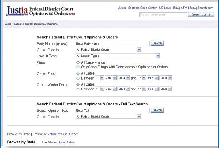 Screen shot of Justia Federal Court Opinions Database