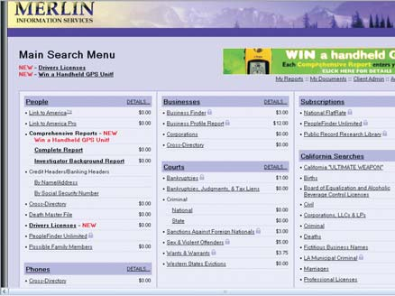 Merlin Information System menu screenshot